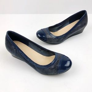 COLE HAAN Elsie Patent Leather Cap Toe Blue Wedges